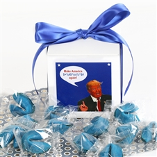 Blue fortune cookies filled with some of the most awful Donald Trump quotes...perfect for Clinton supporters or just plain Never Trumpers.