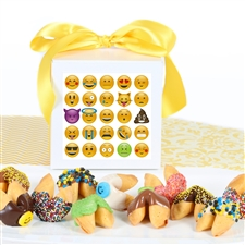 Gourmet chocolate covered fortune cookies in a custom emoji gift box. Each cookie contains our most fun fortunes yet!
