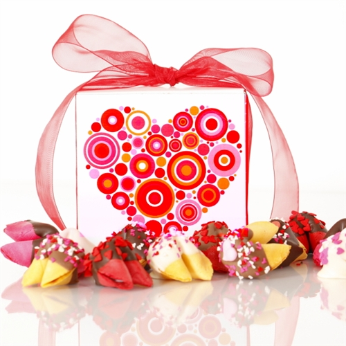 This Dazzle Dozen gift box of chocolate covered fortune cookies is the perfect valentine's day gift for your sweetheart.