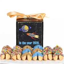 Chocolate covered fortune cookies. Each cookie is individually wrapped with messages of good cheer and good fortune in the new year.