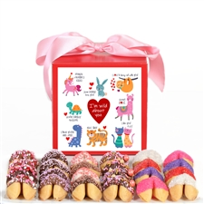 Wild About You gift box contains 24 chocolate covered fortune cookies. It's the perfect valentine's day gift for your sweetheart.