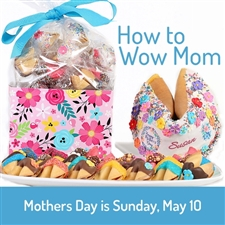 24 chocolate dipped and decorated fortune cookies filled with Mother's Day fortunes and a Giant fortune cookie with Mom's name on it and your custom fortune inside.