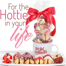 This mug of a dozen chocolate covered fortune cookies is the perfect Valentine's day gift for your sweetheart.