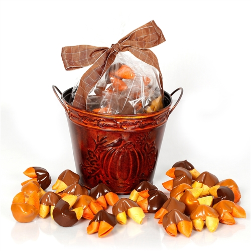 Bring in the autumn with with this warm gift of two dozen fortune cookies. Each chocolate covered fortune cookie contains a message of good luck and thankfulness.