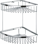 Kube Double Tier Corner Wire Basket - Chrome