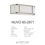 Nuvo Lighting 60-2871 Odeon 2-Light Wall Sconce with Satin White Glass