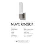 Nuvo Lighting 60-2934 Link 1-Light Tube Wall Sconce with White Glass