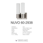 Nuvo Lighting 60-2938 Link 2-Light (Twin) Tube Wall Sconce with White Glass