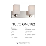 Nuvo Lighting 60-5182 Vista - 2-Light Polished Nickel Vanity Light Fixture with Etched Opal Glass