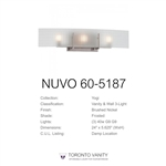Nuvo 60-5187 Yogi 3-Light Brushed Nickel Halogen Vanity Light Fixture with Frosted Glass