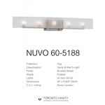 Nuvo 60-5188 Yogi 5-Light Brushed Nickel Halogen Vanity Light Fixture with Frosted Glass