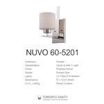 Nuvo 60-5201 Parallel 1-Light Wall Mounted Vanity Light in Polished Nickel Finish with Etched Opal Glass
