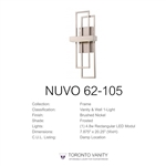 Nuvo 62-105 Frame 1-Light Wall Mounted LED Wall Sconce with Frosted Glass in Brushed Nickel Finish