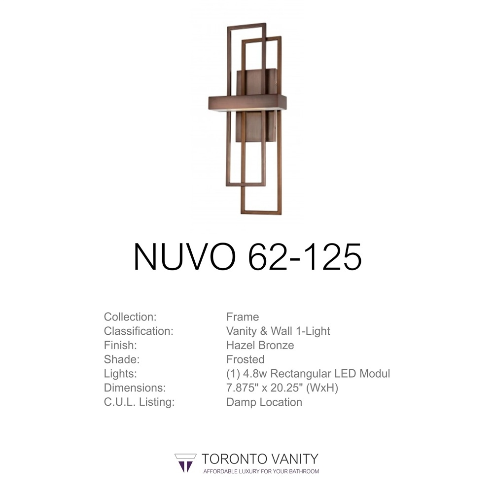 Nuvo 62 125 Frame 1 Light Wall Mounted Led Wall Sconce