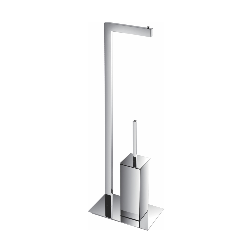 46ff725bbed2 Aqua Piazza by KubeBath Free Standing Toilet Paper Holder With Toilet Brush  - Chrome