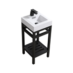 "Kube Cisco 16"" Stainless Steel Console w/ White Acrylic Sink - Matte Black"