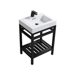 "Kube Cisco 24"" Stainless Steel Console w/ White Acrylic Sink - Matte Black"
