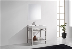 "Kube Cisco 30"" Stainless Steel Console w/ White Acrylic Sink - Chrome"