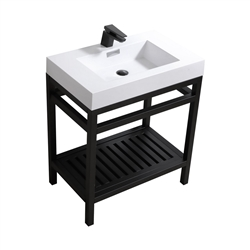 "Kube Cisco 30"" Stainless Steel Console w/ White Acrylic Sink - Matte Black"