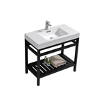 "Kube Cisco 36"" Stainless Steel Console w/ White Acrylic Sink - Matte Black"
