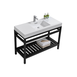 "Kube Cisco 48"" Stainless Steel Console w/ White Acrylic Sink - Matte Black"