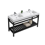 "Kube Cisco 60"" Stainless Steel Console w/ White Acrylic Double Sink - Matte Black"