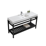 "Kube Cisco 60"" Stainless Steel Console w/ White Acrylic Single Sink - Matte Black"