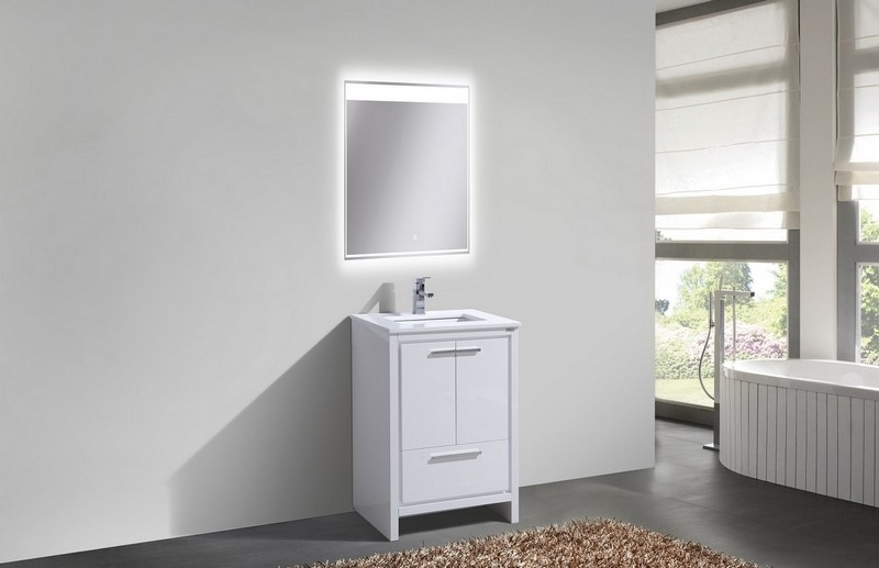 kubebath dolce 24 inch gloss white modern bathroom vanity 24 Bathroom Vanity