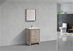24″ KubeBath Dolce Nature Wood Modern Bathroom Vanity with White Quartz Counter-Top