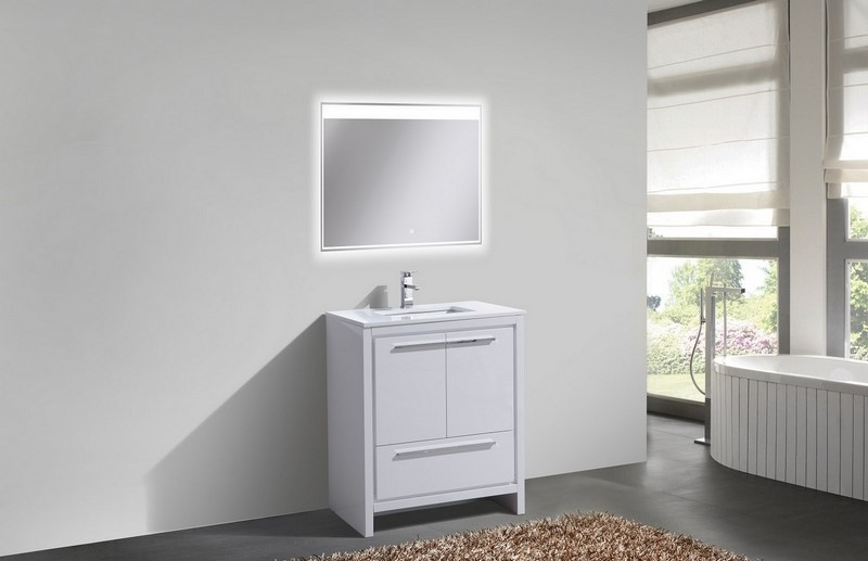 kubebath dolce 30 inch gloss white modern bathroom vanity 30 Bathroom Vanity