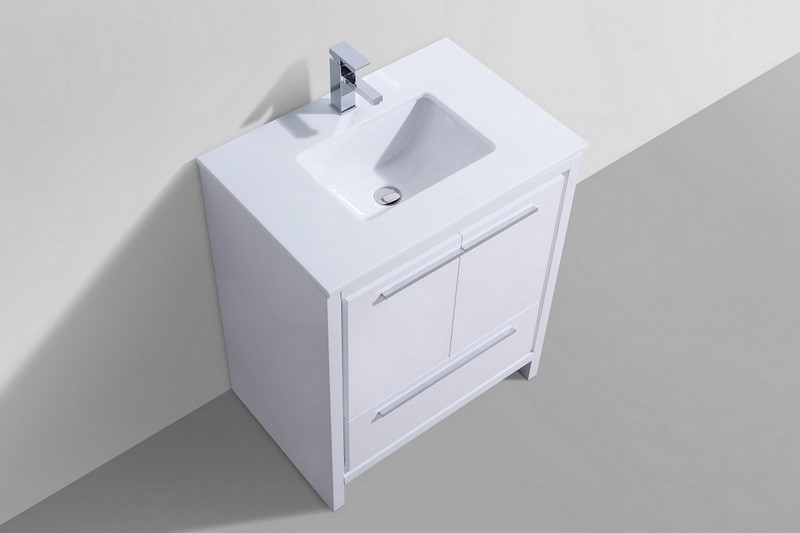 . 30   KubeBath Dolce High Gloss White Modern Bathroom Vanity with White  Quartz Counter Top   Back Order   NO ETA