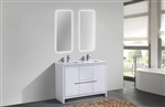 KubeBath Dolce 48'' Double Sink High Gloss White Modern Bathroom Vanity