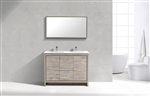 48'' KubeBath Dolce Double Sink Nature Wood Modern Bathroom Vanity