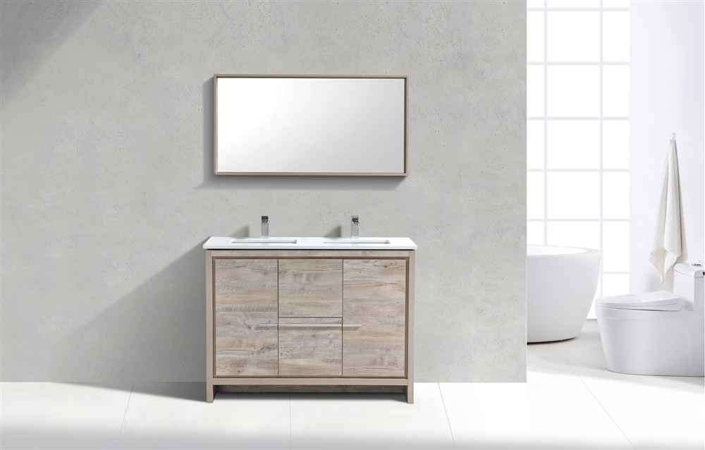Miraculous 48 Kubebath Dolce Double Sink Nature Wood Modern Bathroom Vanity With White Quartz Counter Top In Stock Download Free Architecture Designs Ferenbritishbridgeorg