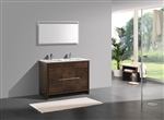 KubeBath Dolce 48'' Double Sink Rose Wood Modern Bathroom Vanity