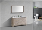 KubeBath Dolce 60'' Double Sink Nature Wood Modern Bathroom Vanity