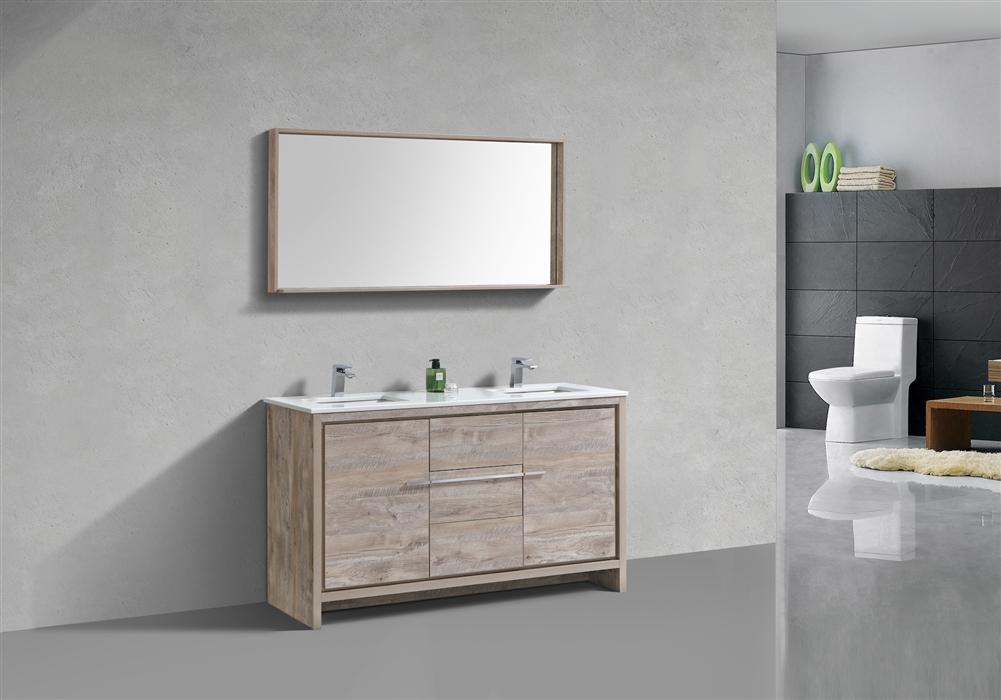 Kubebath Dolce 60 Double Sink Nature Wood Modern Bathroom Vanity