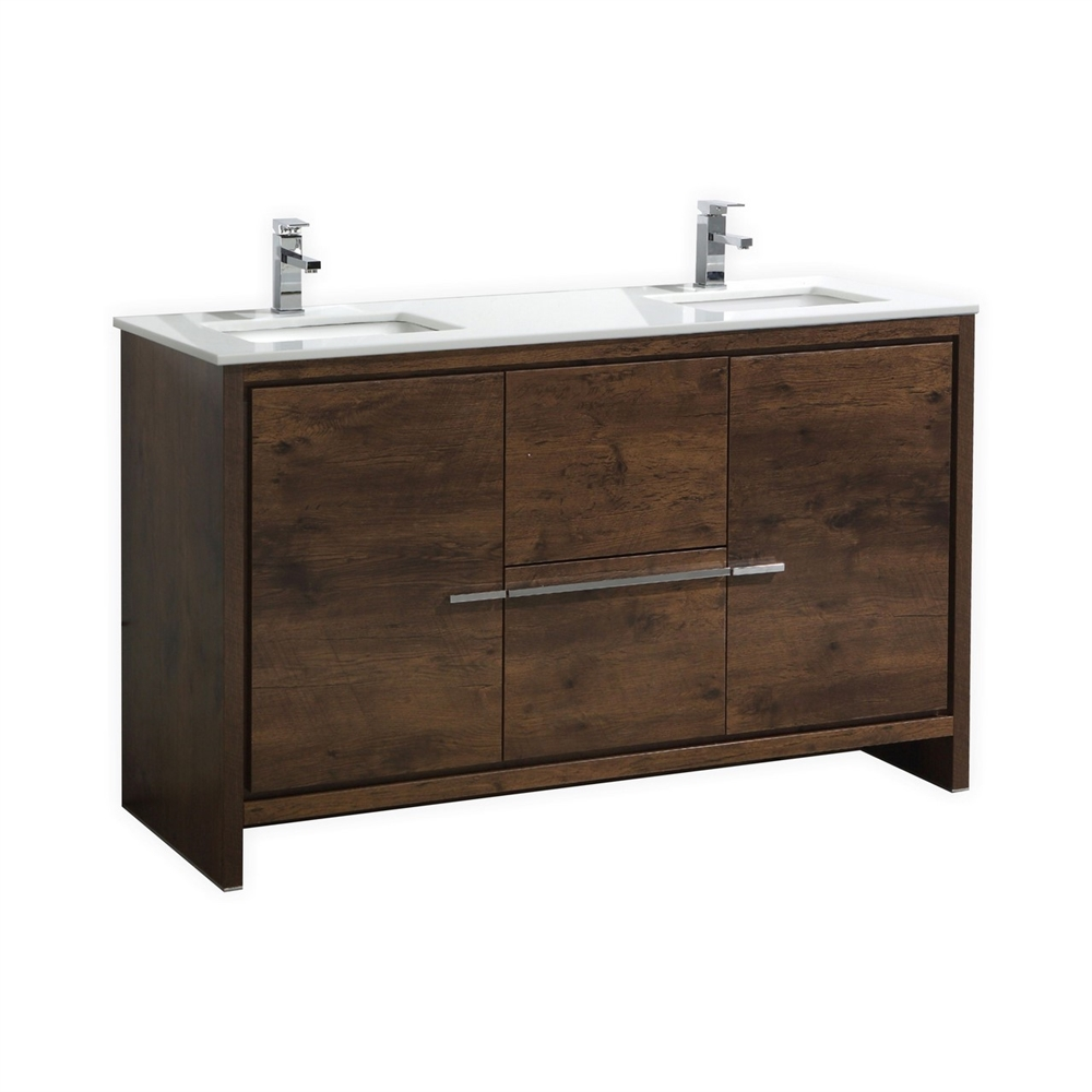 The Dolce Vanity  KubeBath 60 Double Sink Rose Wood Modern Bathroom