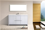 KubeBath Dolce 60'' Single Sink High Gloss White Modern Bathroom Vanity