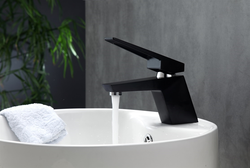 Aqua Siza Single Lever Modern Bathroom Vanity Faucet - Black