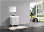 "Anziano 30"" High Gloss White Vanity with Countertop"