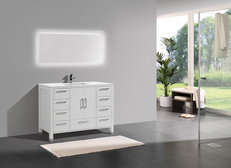 """Anziano 48"""" Gloss White Modern Bathroom Vanity"""