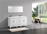 "Anziano 60"" Gloss White Double Sink Vanity"