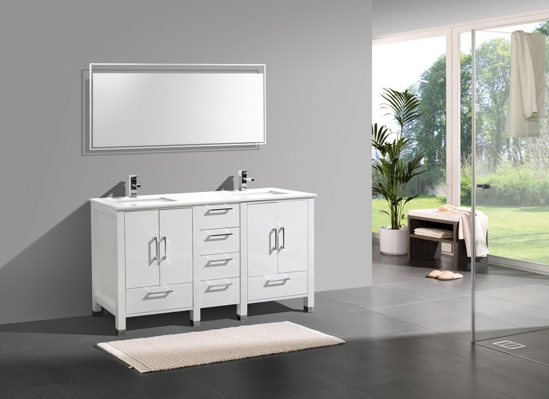 Alternative Views  Anziano 60 Gloss White Double Sink Vanity