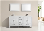 "Anziano 72"" Double Sink Glossy White Vanity w/ Countertop"
