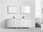 "Anziano 84"" Gloss White Double Sink Vanity"