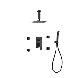 "Aqua Piazza Black Brass Shower Set w/ 8"" Ceiling Mount Square Rain Shower, Handheld and 4 Body Jets"
