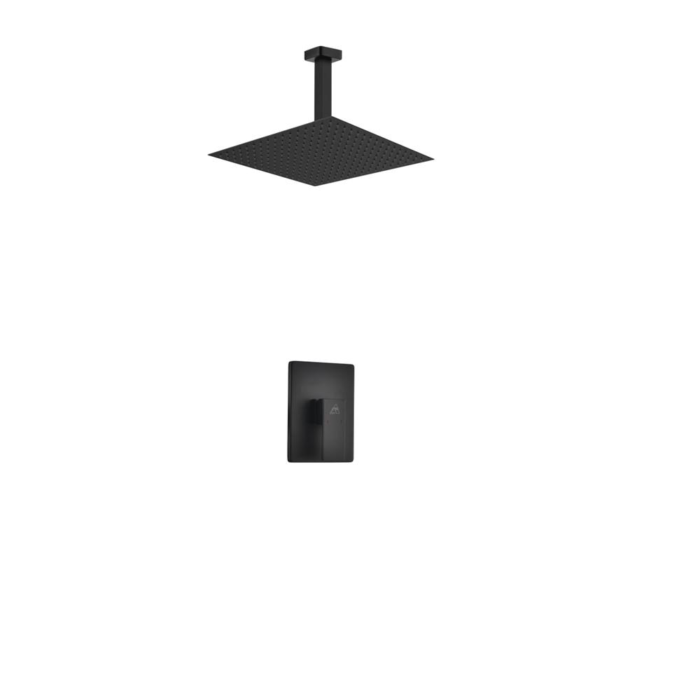 Aqua Piazza Black Shower Set W 12 Ceiling Mount Square Rain Shower