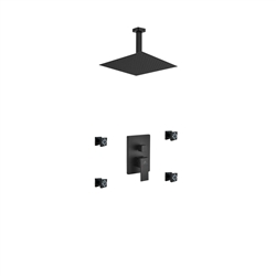 "Aqua Piazza Black Brass Shower Set w/ 12"" Ceiling Mount Square Rain Shower and 4 Body Jets"