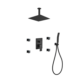 "Aqua Piazza Black Brass Shower Set w/ 12"" Ceiling Mount Square Rain Shower, 4 Body Jets and Handheld"